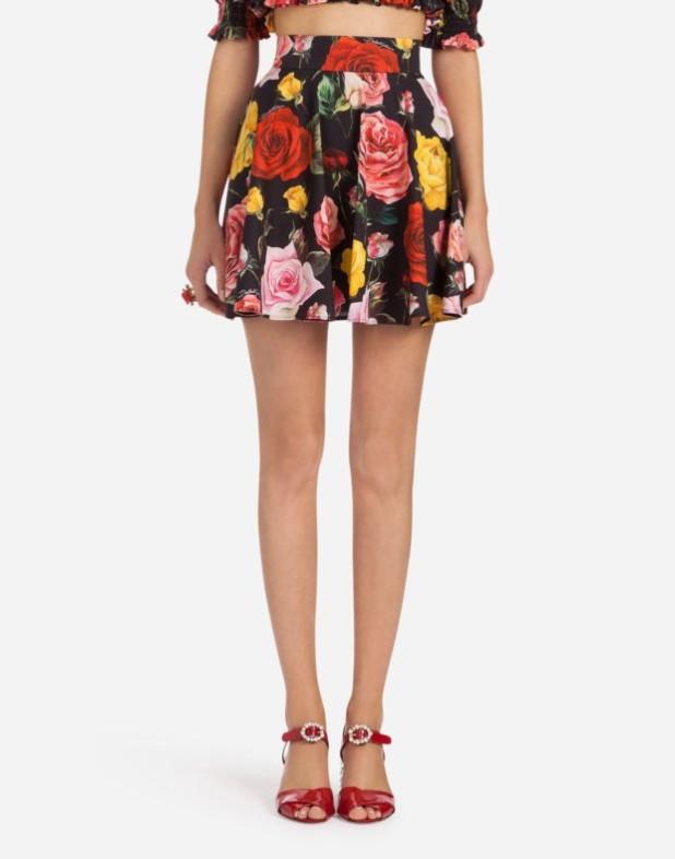 Модная юбка 2018 2019: черная с розами