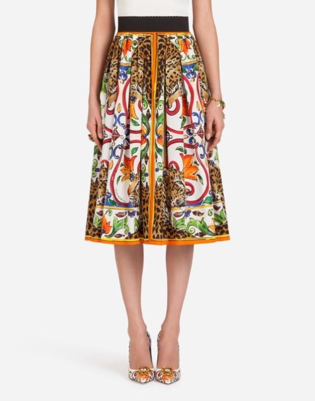 Модная юбка 2018 2019: белая с принтом