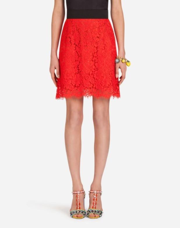Модная юбка 2018 2019: красная кружево