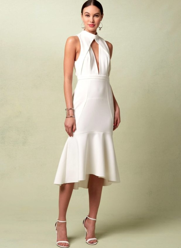 мода в одежде: белое платье миди