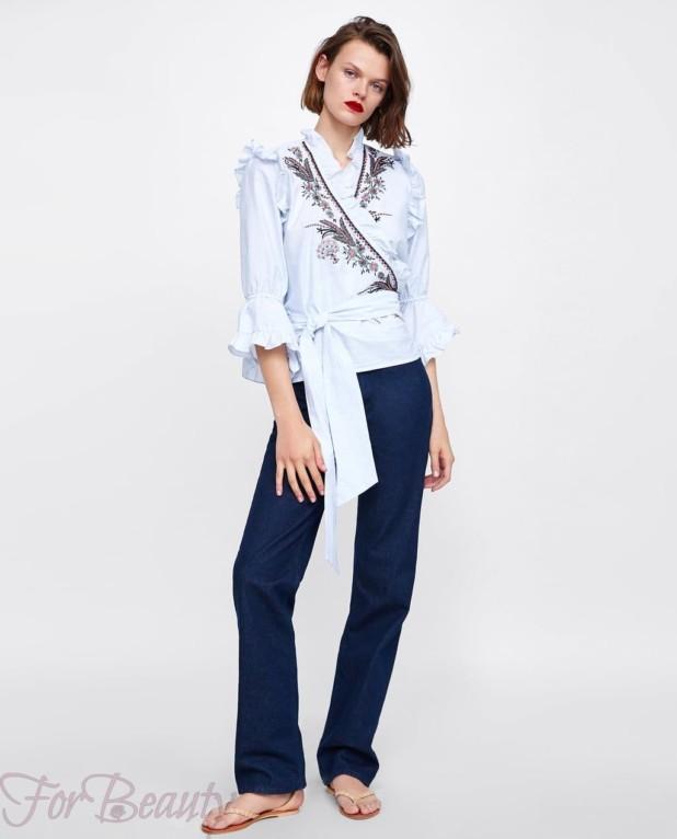 модная голубая блузка 2018