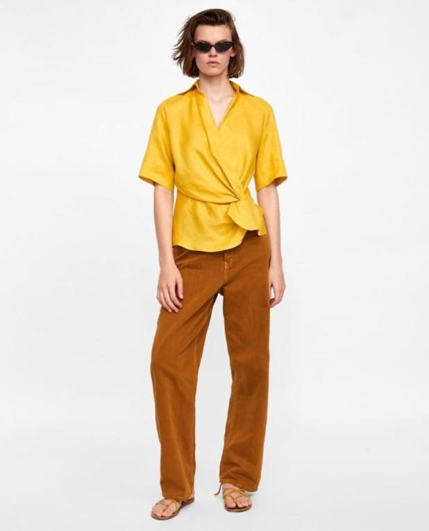 мода в одежде: желтая блузка с короткими рукавами
