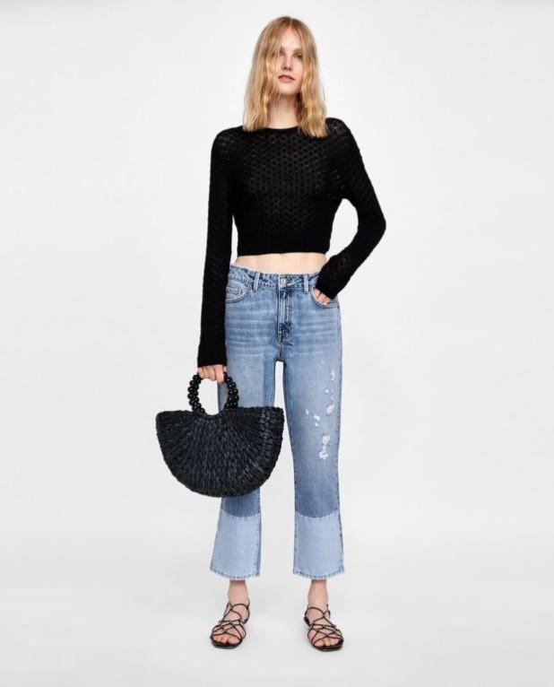 мода в одежде: джинсы и черная кофта