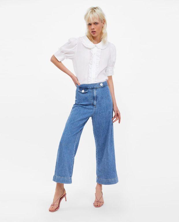 мода в одежде: джинсы и белая блузка
