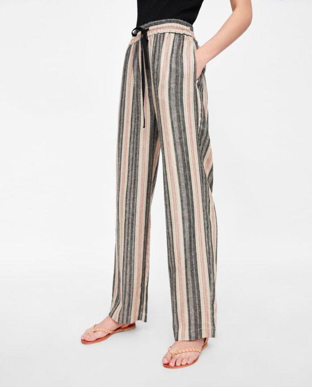 мода в одежде: полосатые женские брюки
