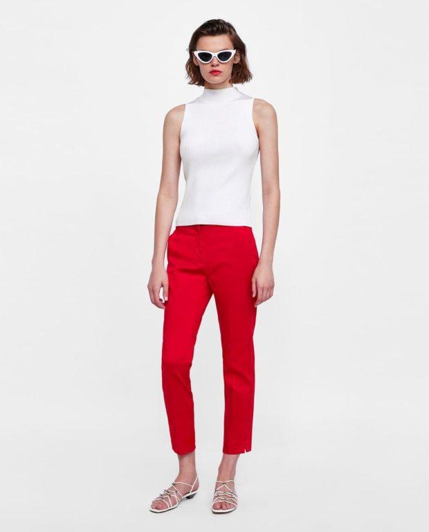 модные красные женские брюки