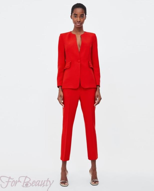 модный красный костюм женский 2018