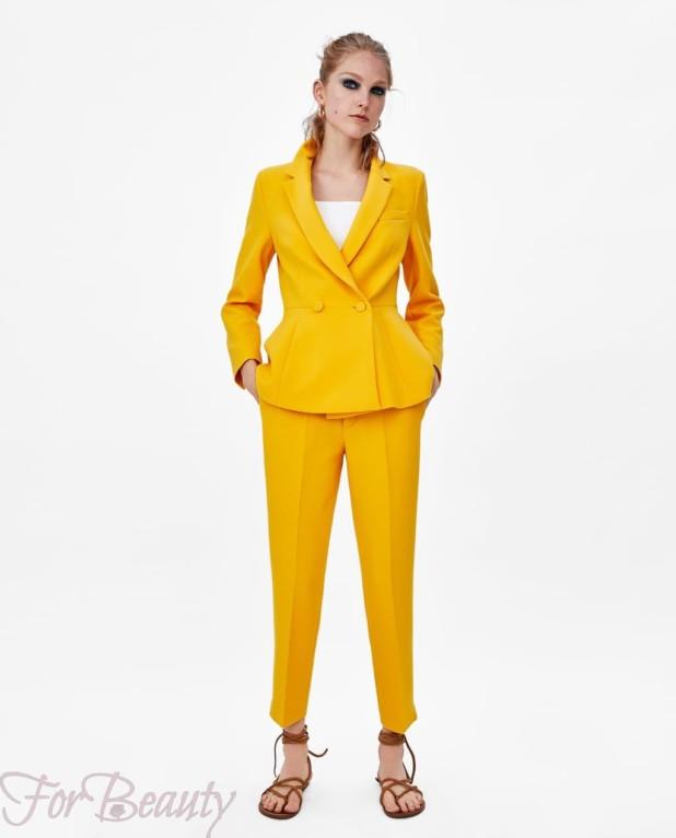 модный желтый костюм женский 2018