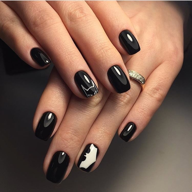 Шеллак темный на короткие ногти дизайн 2017